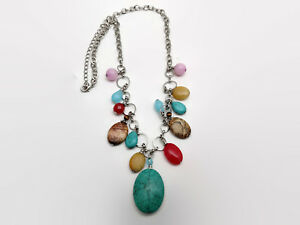 Faux-Gemstone-Silver-Tone-Charm-Style-Necklace