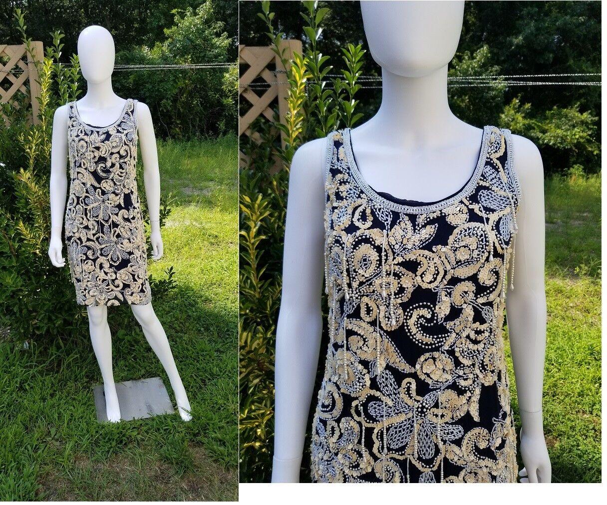 Vintage NITE Line Beaded embellished dress art deco  inspired size 4