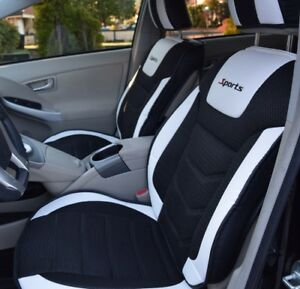 Seat Covers Set Pu Leather Cooling Mesh Black White Fits Bmw