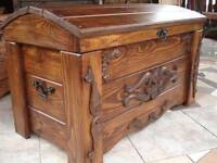 Wooden Blanket Box Coffee Table Trunk Vintage Chest Wooden Ottoman Toy Box (er1)