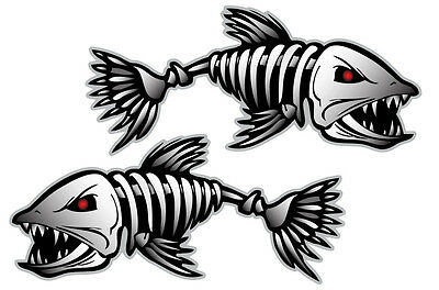 """Bone Fish Sticker Hard Hat Decal Bones Skeleton Kayak Fishing Boat 18"""" Length"""
