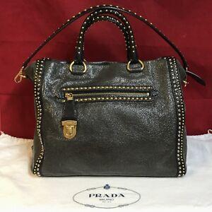 Details zu Limitierte PRADA Damen HandtascheShopper mit Nieten Gold Hardware Top Gepflegt