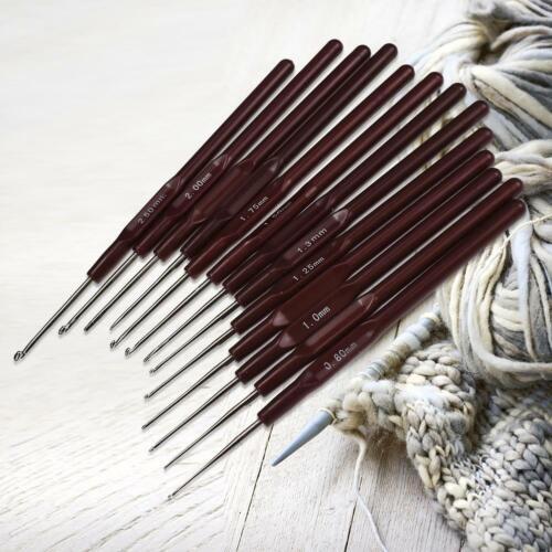 16er Kunststoffgriff Metall Häkelnadel Set Mit Tasche Häkeln Stricknadeln Tool