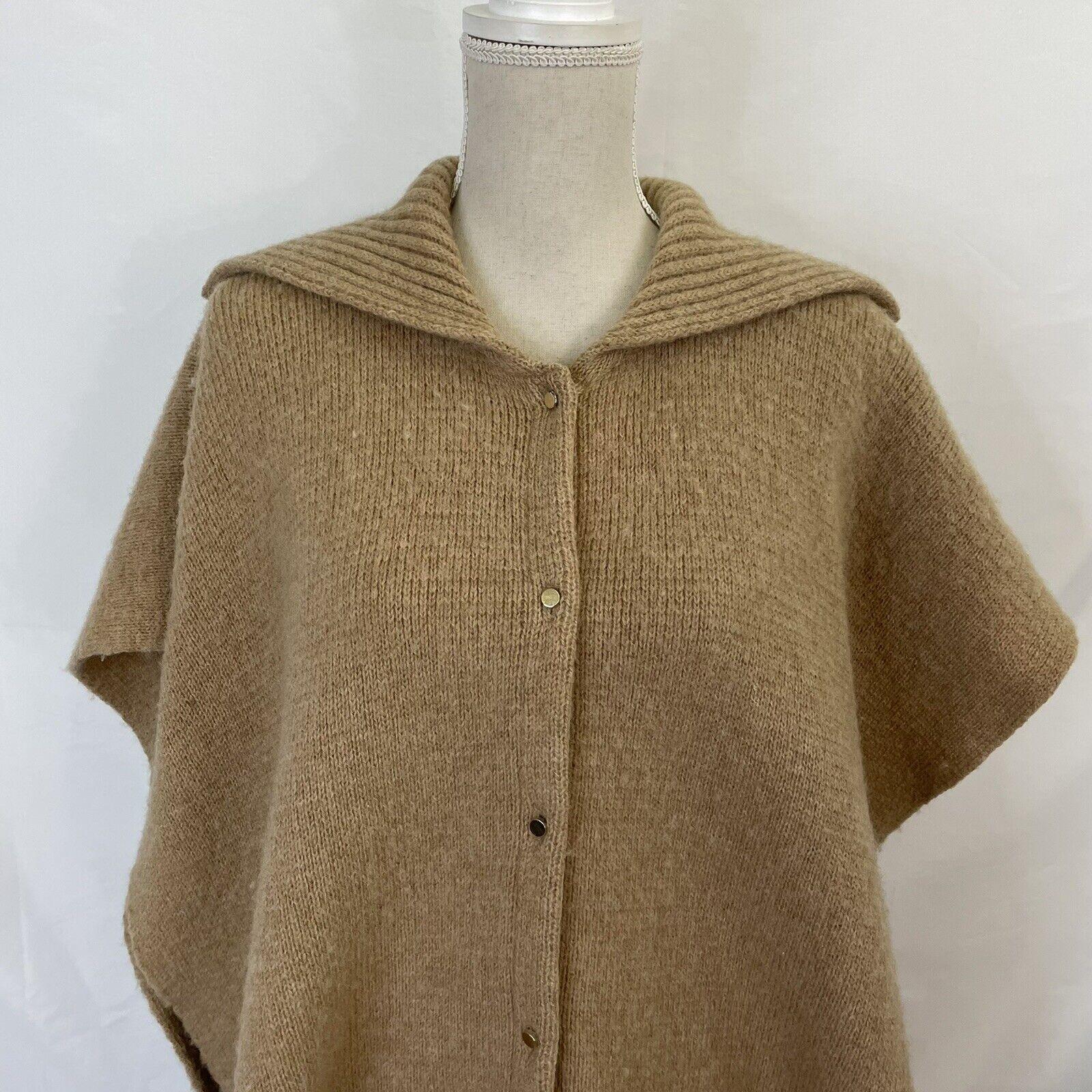 Bonnie Cashin Camel Knit Sweater Cape Poncho Coat - image 3