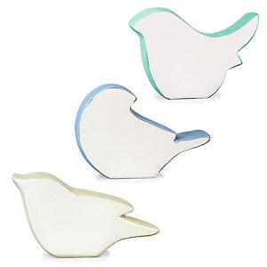 Trio-of-Contemporary-White-Blue-amp-Grey-Ceramic-Bird-Silhouette-Home-Ornaments