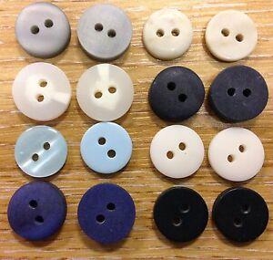 11mm Cream 2 Hole Button x 8 buttons