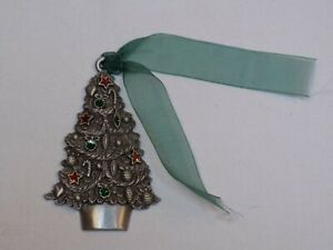 Gloria-Duchin-Pewter-Metal-Christmas-Tree-Decorated-Holiday-Ornament-2003-USA