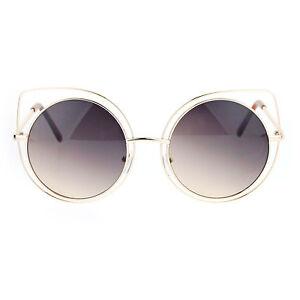 4fa34419d9b SA106 Womens Wire Rim Bat Shape Cat Eye Round Circle Lens Sunglasses ...