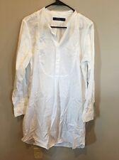 Lauren Ralph Lauren White Button Front Shirt Dress Size 14, Long Sleeve