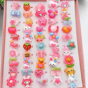 20Pcs-SET-Wholesale-Mixed-Lots-Cute-Cartoon-Children-Kids-Resin-Lucite-Rings-New