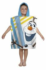 DISNEY FROZEN OLAF PONCHO KIDS GIRLS COTTON CHARACTER HOODED BATH BEACH TOWEL