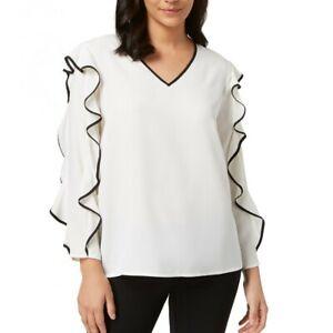 ALFANI-NEW-Women-039-s-Piped-Ruffle-sleeve-V-Neck-Blouse-Shirt-Top-TEDO