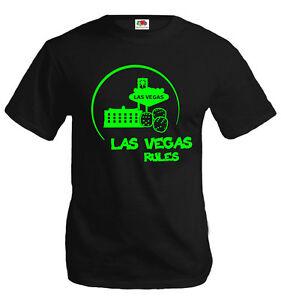 Herren-Unisex-T-Shirt-Las-Vegas-Rules-Silhouette-Roulette-Gluecksspiel-America