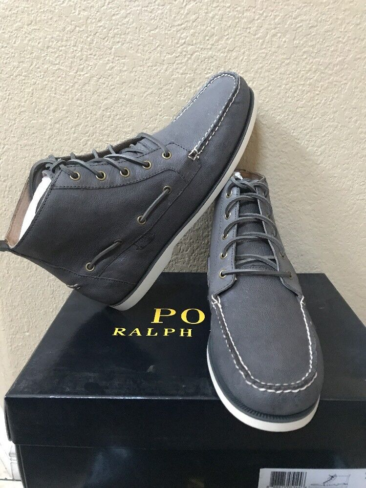 Polo Ralph Lauren Men's BARredT Leather Boot Char GRY Lace Up Boot Size 8 D