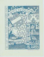 EX LIBRIS-JEAN VERSTER-W. SCHÖTTELNDREÏER-AMSTERDAM-BLASON-HÉRALDIQUE-1894-TB