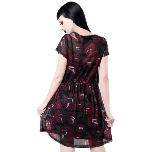 Killstar Gothique Punk occultisme Skater robe Mini-robe-Mary Mesh roses monstre