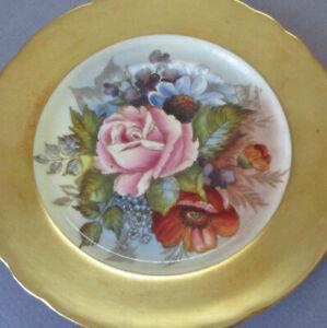 "Vintage AYNSLEY English Bone China 6 1/4"" Plate ROSES Flowers GOLD Border BAILEY"