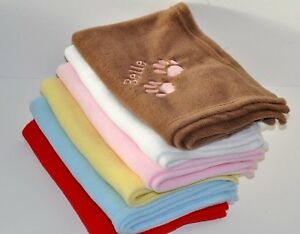 Personalised Embroidered Pet Dog Cat Fleece Blanket Any Name or Message