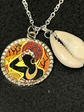 "African Free Trade Cowrie Shell & African Mask Tibetan Silver Necklace 18"" R38"