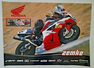 Vintage Poster 2010 Jake Zemke Honda CBR AMA Erion Racing Parts Unlimited