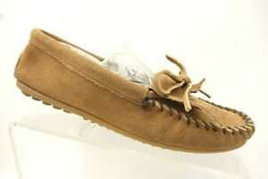 Minnetonka-Brown-Leather-Casual-Kilt-Slip-On-Moccasin-Loafers-Shoes-Women-039-s-8