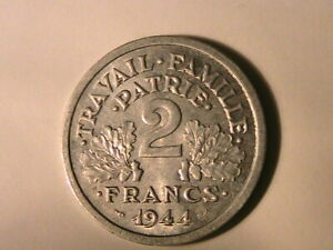 1944-B-FRANCE-WWII-2-Francs-Original-Ch-BU-Lustrous-Two-Franc-French-Coin