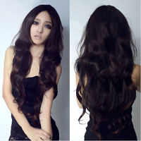 Vogue Women Long Black or brown Curly Wavy Full Wigs Parted Hair Cosplay Wig+Cap
