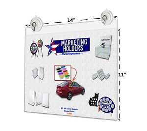 "14""W x 11""H Window Ad Frame/Sign Holder w/ 2 Suction Cups w/ Hooks"