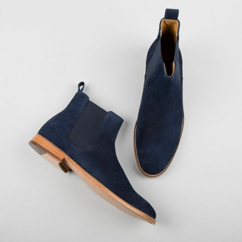 MENS HANDMADE HIGH CLASS LEATHER LEATHER LEATHER NAVY BLUE SUEDE LEATHER HUNTER BOOTS FOR MENS 436b02