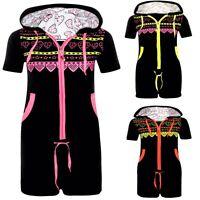Women Short Sleeves Playsuit Onesie Hooded Summer Jumpsuit Ladies