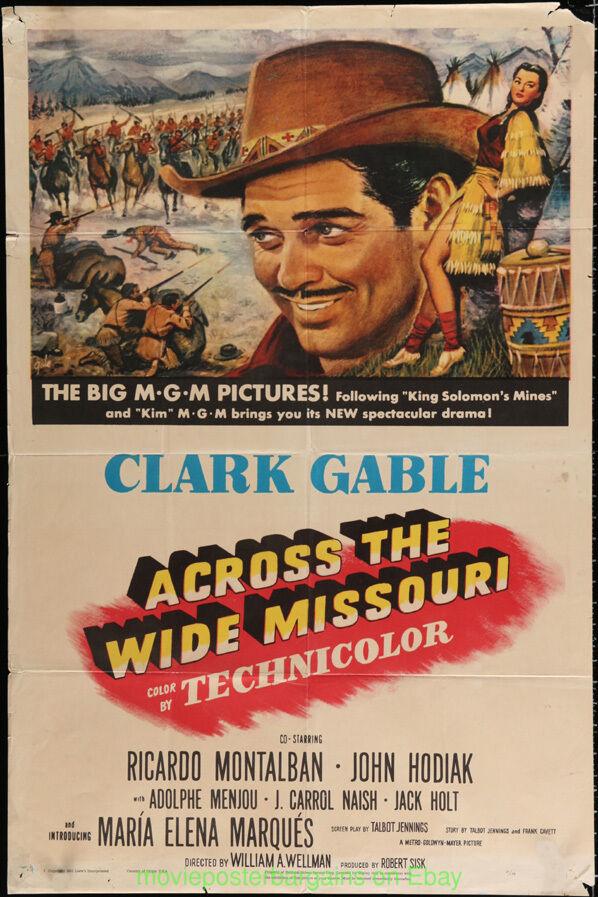 Über die Breit Missouri Filmposter Original 27x41 Gefalteter Clark Gable 1951