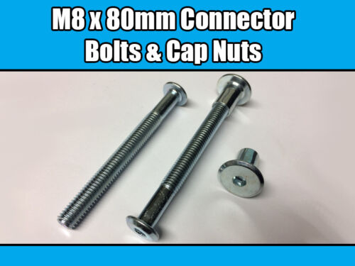 M8 x 80mm Furniture Connector Bolts /& Cap Nuts Allen Key Flat Head Joint Fixing