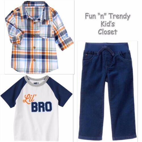 Corduroy Pants NWT 3-PC SET Crazy 8 Boys Size 4T Plaid Shirt Brother Tee