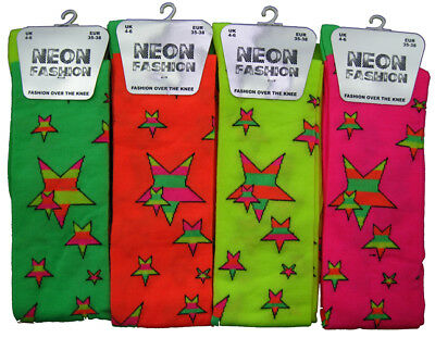 Over The Knee Ladies Neon Socks