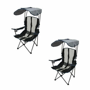 Kelsyus-UPF-Portable-Camping-Folding-Lawn-Chair-with-Canopy-Navy-2-Pack