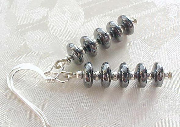 Minimalist Earrings Czech Glass Stack Retro Shiny Metallic Gray Hematite ASOS
