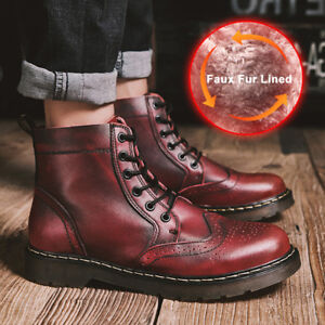 Men-039-s-Fashion-Ankle-Boots-Casual-Lace-Up-High-Top-Leather-Oxfords-Brogue-Shoes