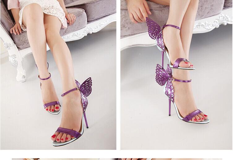 Zapatos sandalias mujer mariposa perno 11,5 cm tacón de aguja violeta 8663