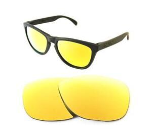 Nuevo-Polarizado-Custom-24k-Gold-Lente-Para-Oakley-Frogskins-Sunglasses