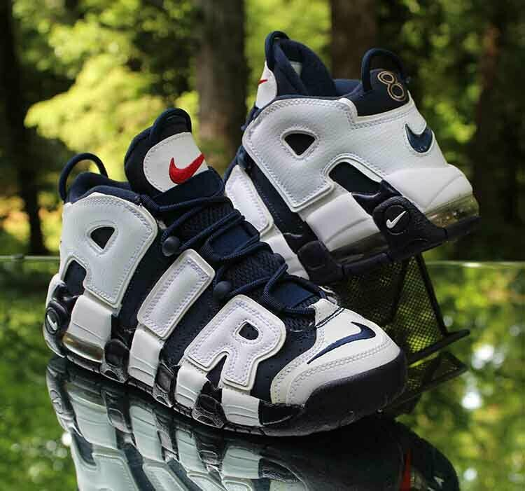 Nike Air More Uptempo Olympic GS Size 6Y White Midnight Navy Blue 415082-104