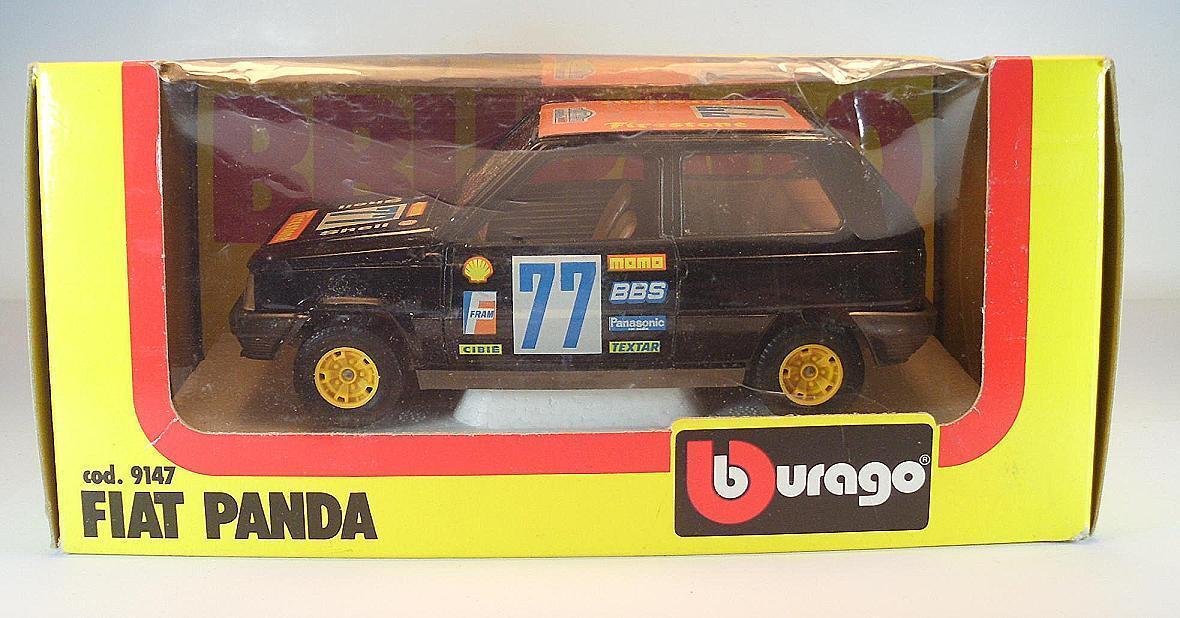 Bburago 1 24 Nr. 9147 Fiat Panda Limousine Limousine Limousine black Rally Lombard OVP b9379b