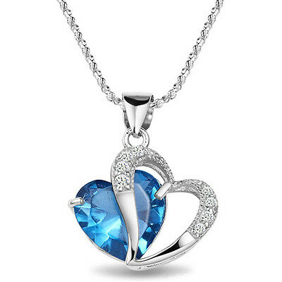 Unique 925 Silver plated CZ 2 Beautiful Heart Lady 's Necklace Pendant Stone