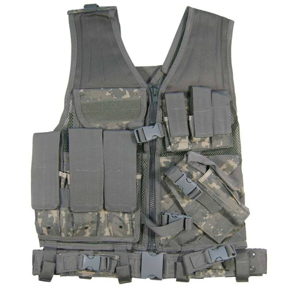XXL  Big & Tall Deluxe Tactical Vest w Holster + Pouches + Belt ACU DIGI CAMO  high quality & fast shipping