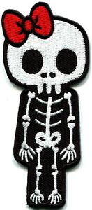 Skull-skeleton-goth-punk-emo-horror-biker-applique-iron-on-patch-new-S-261