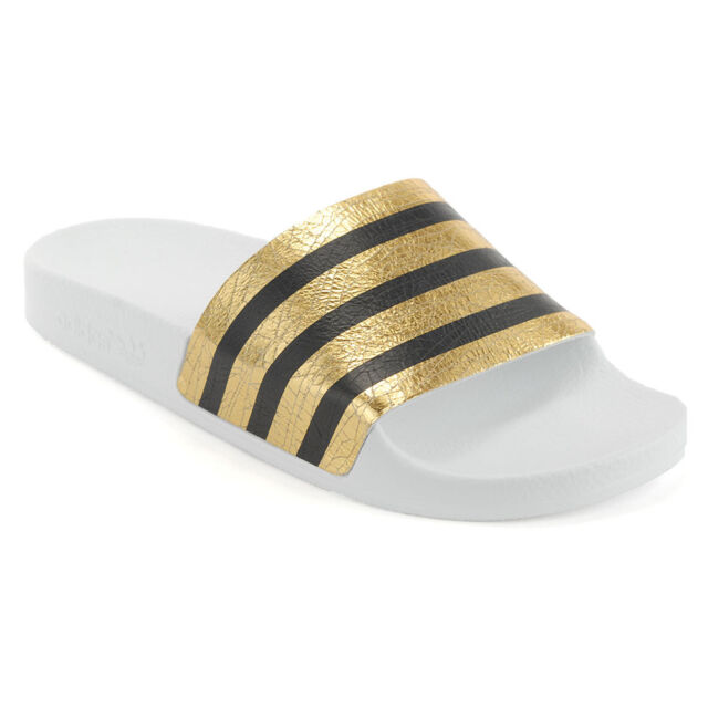 e18d271f7328e Adidas Women s Originals Adilette Slides Gold Metallic White Sandals S78860  NEW!