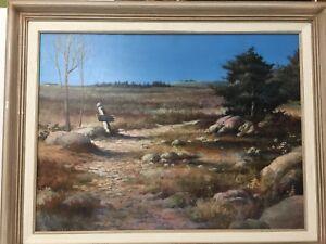 Original-Oil-Painting-Landscape-by-M-Allen-Signed-Framed-24-034-x-17-1-2-034-Image