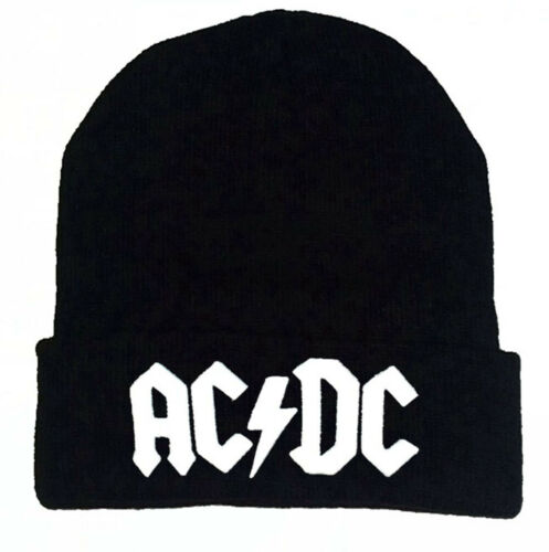 One Size Adult//Girls//Boys AC//DC Black Beanie Hat in 2 Colours