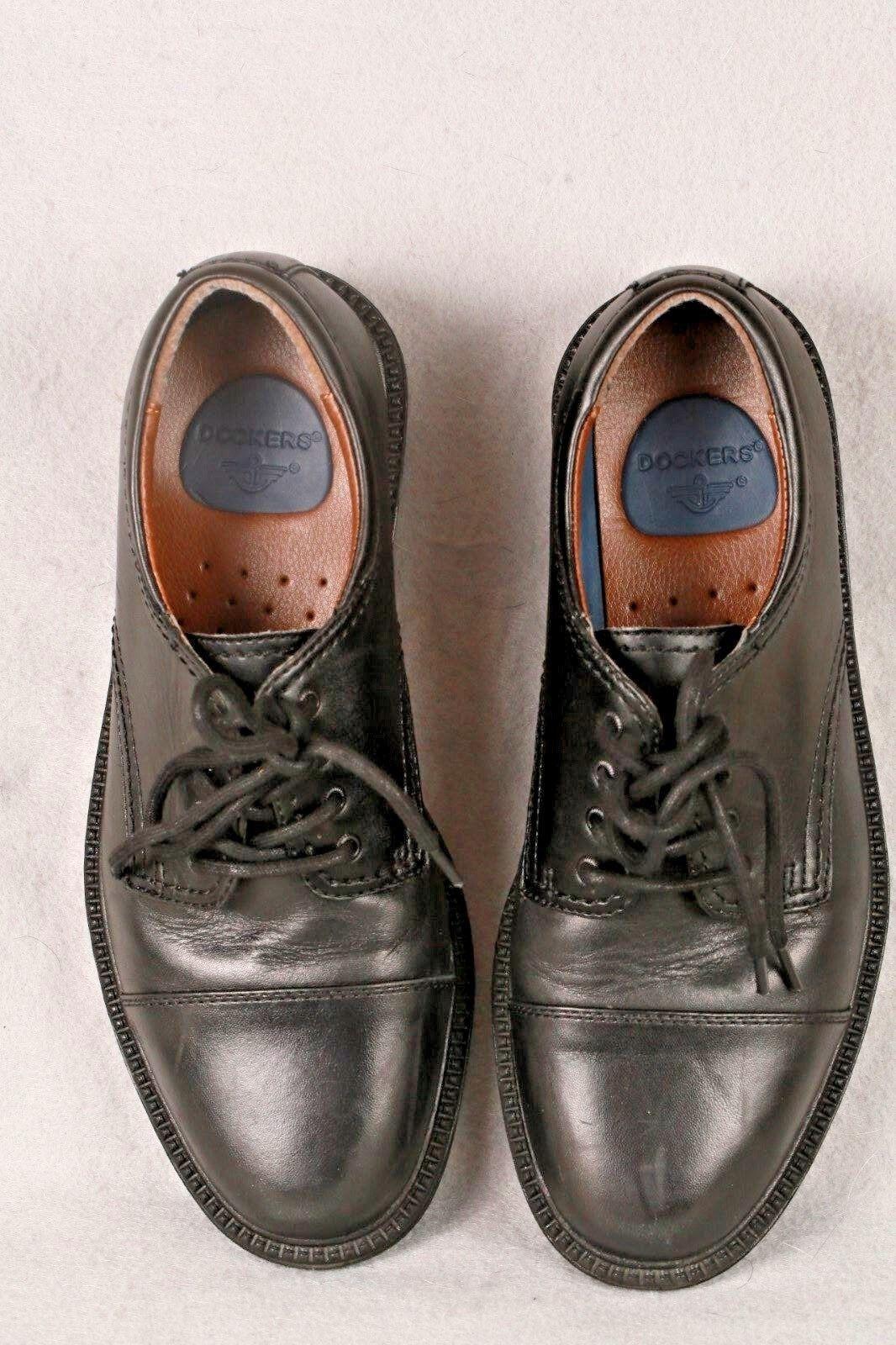Dockers Gordon 90 2214 Mens Black Leather Oxford Cap Toe Lace Up Shoes Size 7