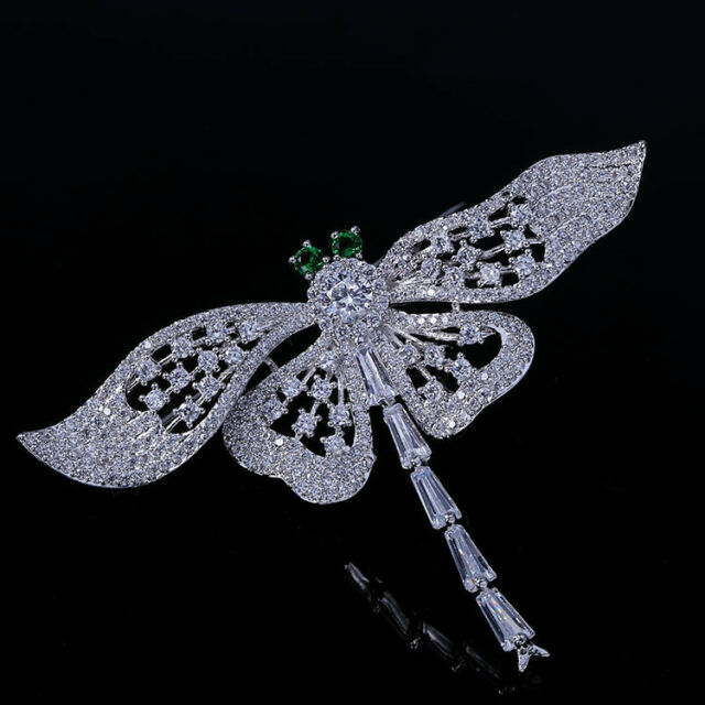 Dragonfly Cubic Zirconia CZ Brooch Broach Pin Women Dress Jewelry 2337
