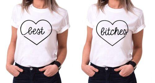 """Best Friends BFF FREUNDINNEN Besties Damen T-Shirt Shirts im Set /""""Best Bitches/"""""""